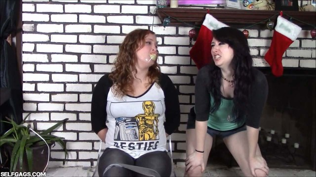 Bound and gagged girl with panties in her mouth
