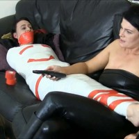 Lazy Roommate Tickled In Tight Mummification Bondage!