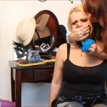 Gothic teen girl rebel with big tits tied and handgagged by milf dominatrix