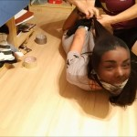 Tied and gagged latina girl head encased with pantyhose in tight bdsm