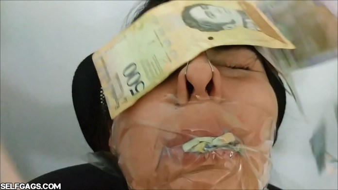 Sexy instagram model gagged with tape and money