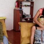 Tape blindfolded and wrap gagged latina girl