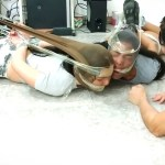 Bound and gagged girls hooded with pantyhose and hogtied for tight bdsm