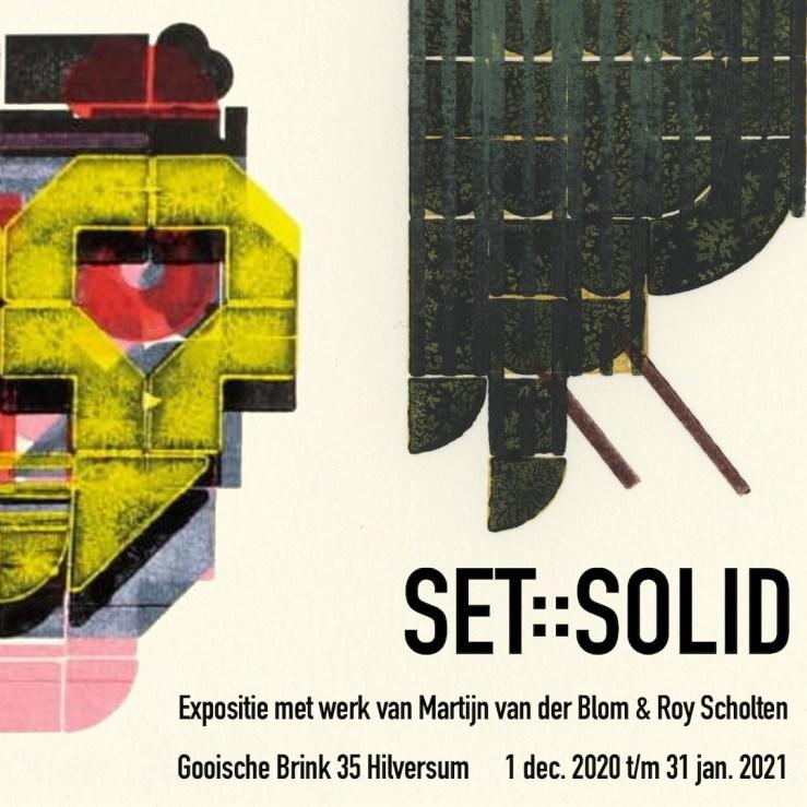 Afbeelding van de poster met een detail van twee van de getoonde werken. Van 1 december. 2020 tot en met 31 januari 2021.