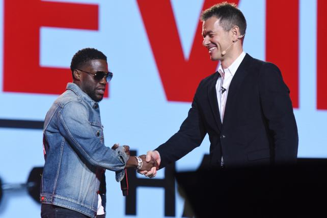 Kevin Hart and YouTube Chief Business Officer Robert Kyncl onstage at the YouTube Brandcast at Javits Center in New York City on Thursday.