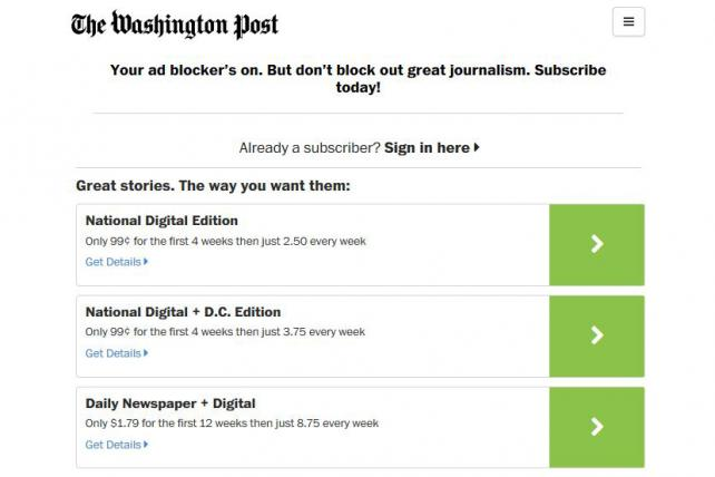 Washington Post Response to AdBlocker