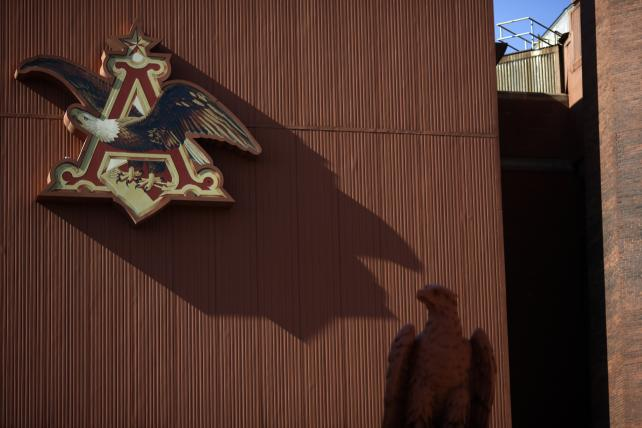 The Anheuser-Busch Budweiser eagle logo at the brewery in St. Louis, Missouri.