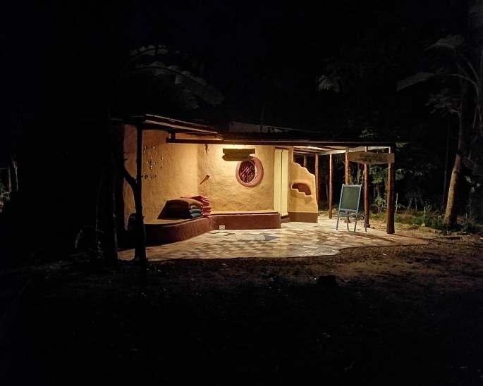 Gaia Ashram Cafe by night