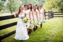 Bride and bridesmaids at Gaie Lea in Staunton Virginia