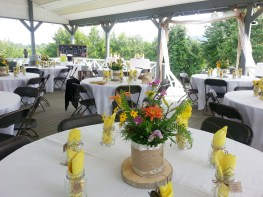 The pavilion setup for a wedding at Gaie Lea