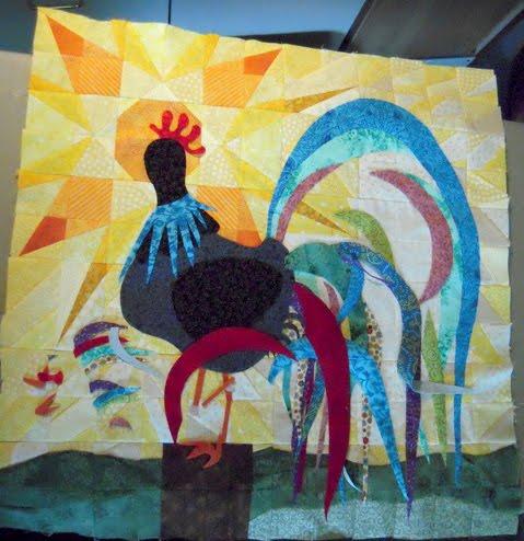 rooster quilt piecing