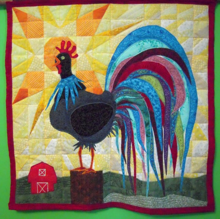 Rooster quilt finish