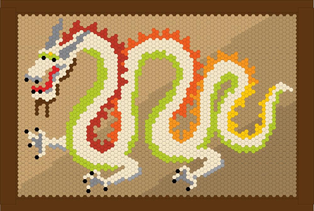 Dragon Hexie Quilt Pattern Design Layout