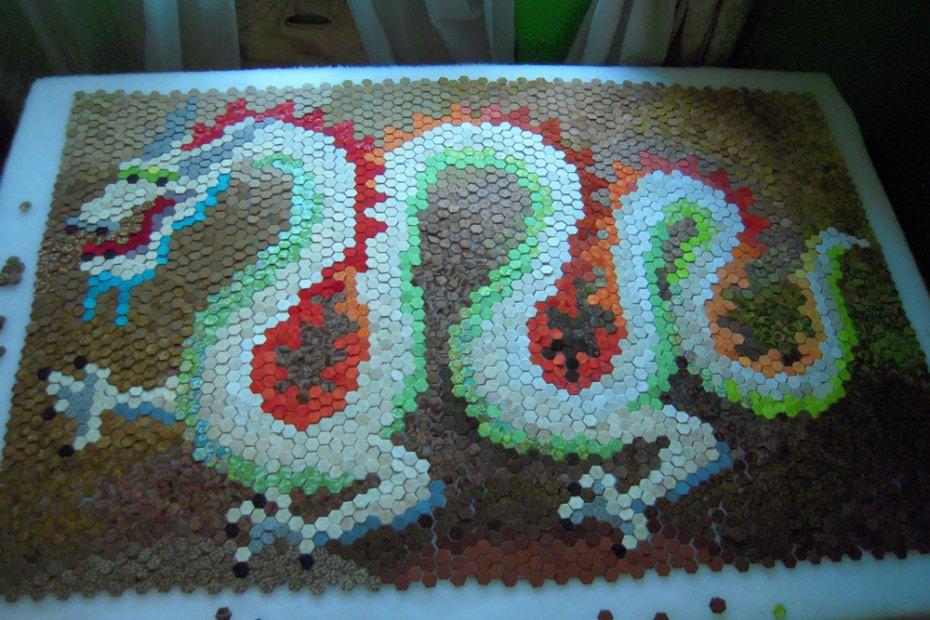 hexie dragon quilt layout