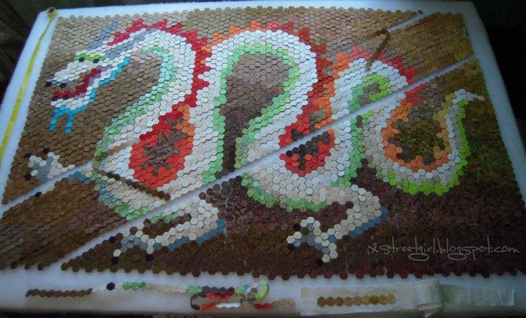 hexie dragon quilt stitching