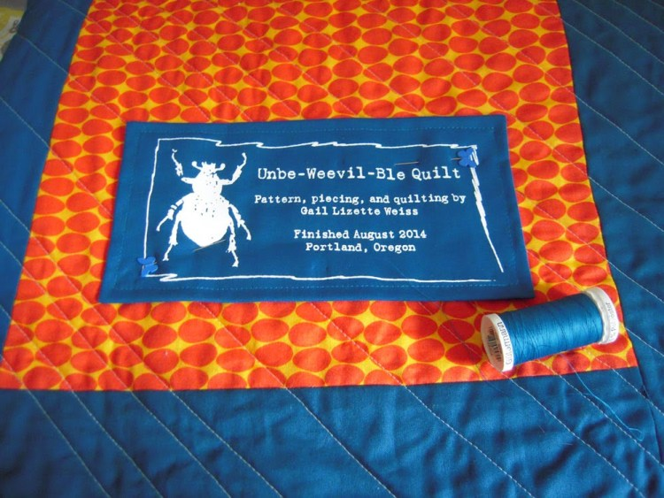 unbe-weevil-ble Quilt Label - screen printed