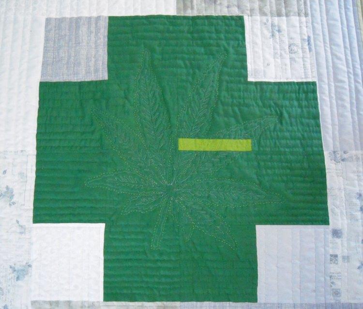 Green Cross Quilt Close Up