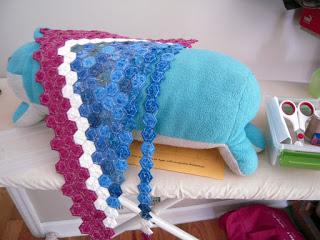 hexies around bolster pillow