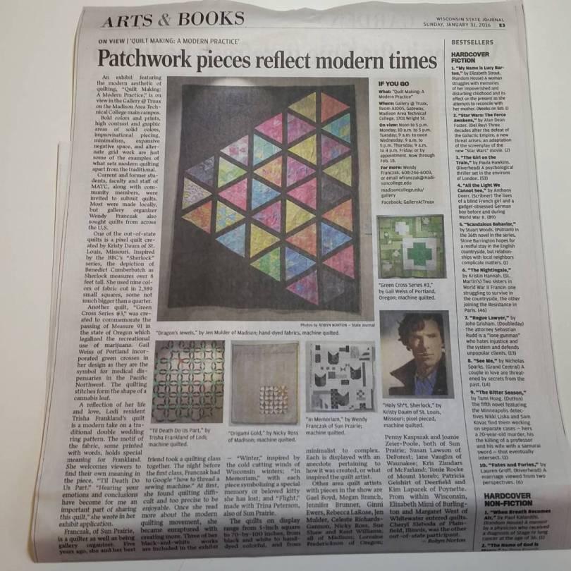 Green Cross #3 in Wisconsin State Journal