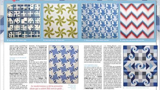 """""""Ocean's of Blue"""" (bottom right) quilt in: Pratique du Patchwork no. 10, France"""