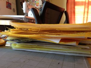 Stack of Manipura Quilt blocks