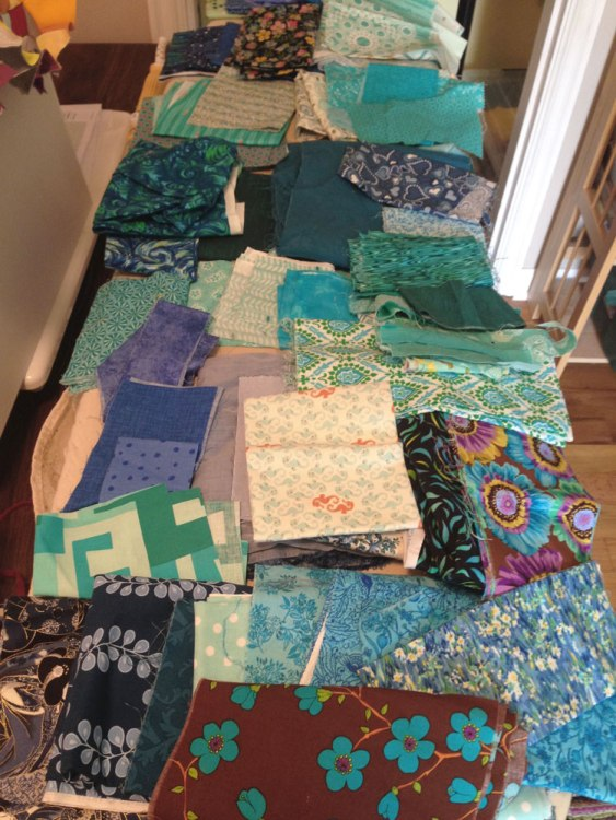 Fabric pull for throat chakra quilt
