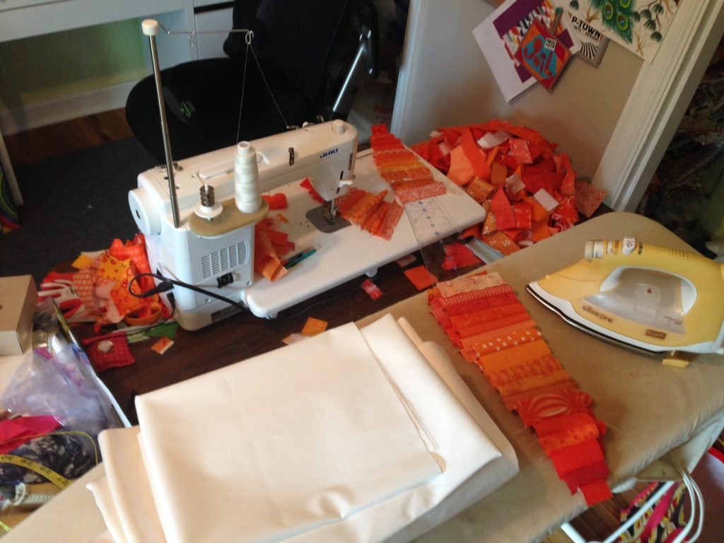 sewing orange fabrics