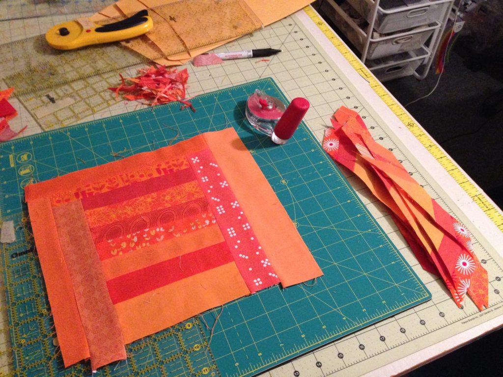 orange block on cutting board