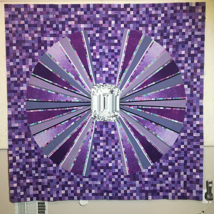 Third Eye Chakra Quilt top finisih - purple quilt with diamond center