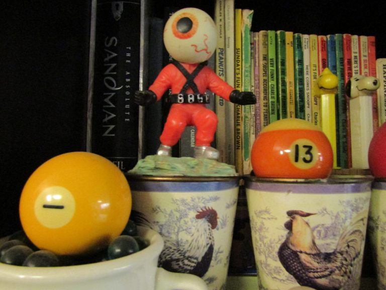 toys, books, billiard balls