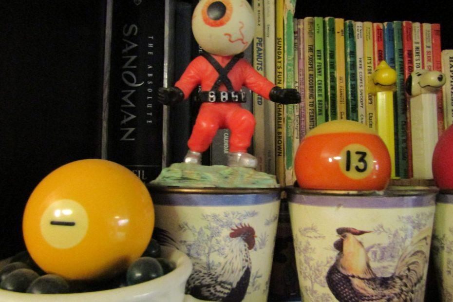 toys, books, billiard balls