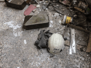 A White Helmet left behind