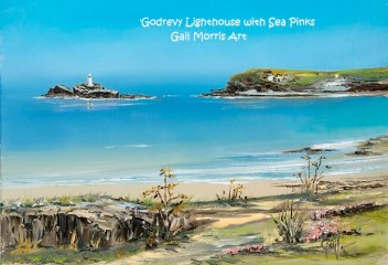 'Godrevy Lighthouse & Sea Pinks' Mounted Prints from £30 - Larger framed prints available from £65 - £85 Please ask for details - Greeting Cards £2