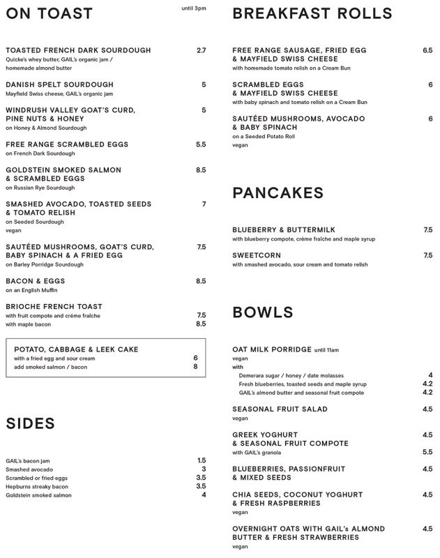 GAIL's Breakfast Menu 2018