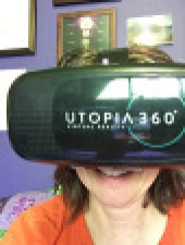 Author picture of using a virtual headset.