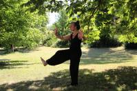 A person performing Tai Chi outside.