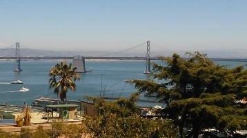 View of the Bay Bridge from the south end of Coit Tower