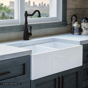 kitchen sink farmhouse vintage lighting 农舍 多图 价格 图片 雾仙阁 豪华32英寸纯fireclay现代农舍厨房水槽白色双盆平面前置洗