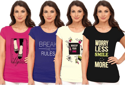 So Sweety Printed Women Round Neck Multicolor