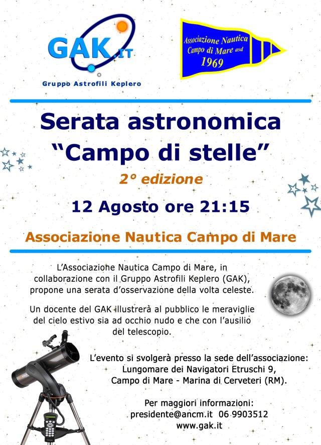 """Il Gak organizza la serata astronomica """"Campo di stelle"""" – 9 Agosto, Campo di Mare (Cerveteri)"""