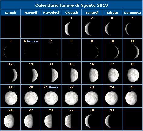 Calendario Lunare Nascite.La Luna Di Agosto 2013 Le Fasi Lunari Gak It