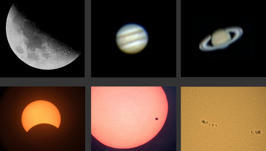 Alcune foto realizzate dal Gak: Luna, Giove, Saturno, eclisse di Sole, transito di Venere sul Sole e macchie solari.