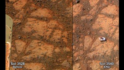 """La """"Pinnacle Island"""", misteriosa roccia apparsa il 16 gennario a fianco del rover Opportunity su Marte"""