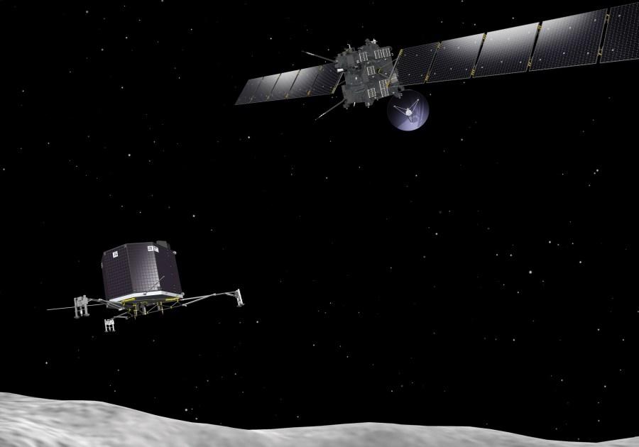 La sonda europea Rosetta e il lander Philae nei pressi dela cometa 67P/Churyumov–Gerasimenko.