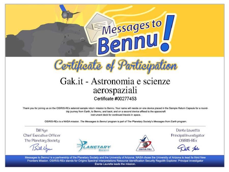 Attestato della registrazione del proprio nome sulla missione OSIRIS-REx