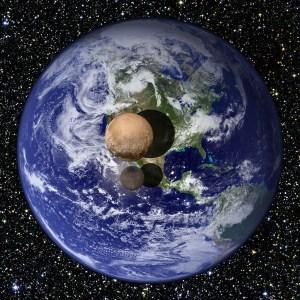 Plutone  e Caronte visti in comparati con la Terra