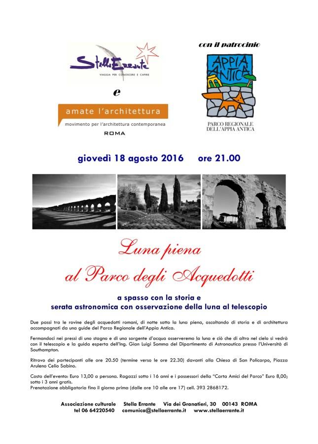 """La locandina dell'evento """"Luna Piena nel Parco degli Acquedotti"""""""