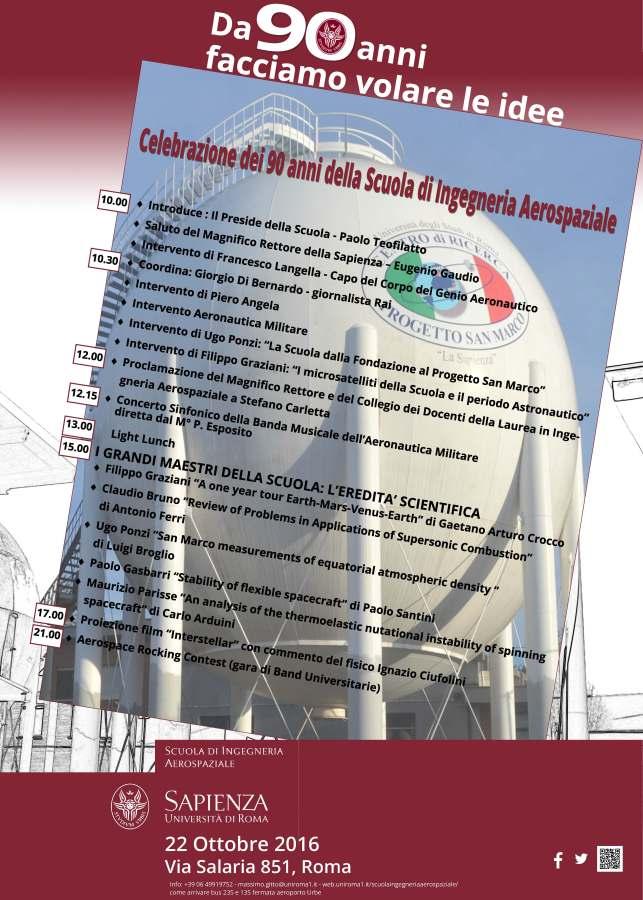 Locandina dell'evento per la celebrazione dei 90 anni della Scuola di Ingegneria Aerospaziale di Roma
