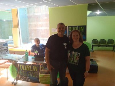 Darius Hupov and Margueritte Smith at the Dublin Worldcon stand in Amiens