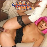 "Stephanie from ""Lazy town"" gets fucked by a black guy in her tight ass!"